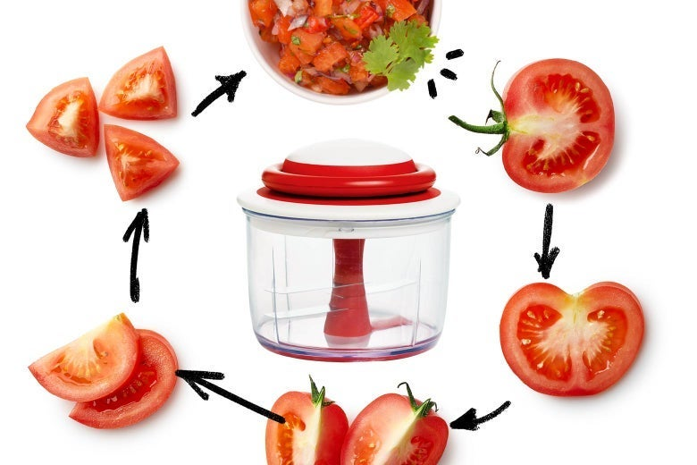 Chef'n Food Chopper, surrounded by a tomato that's gradually chopped up and placed in a salad
