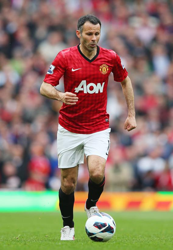 Ryan Giggs of Manchester United in action during the Barclays Premier League match between Manchester United and Chelsea at Old Trafford on May 5, 2013 in Manchester, England.