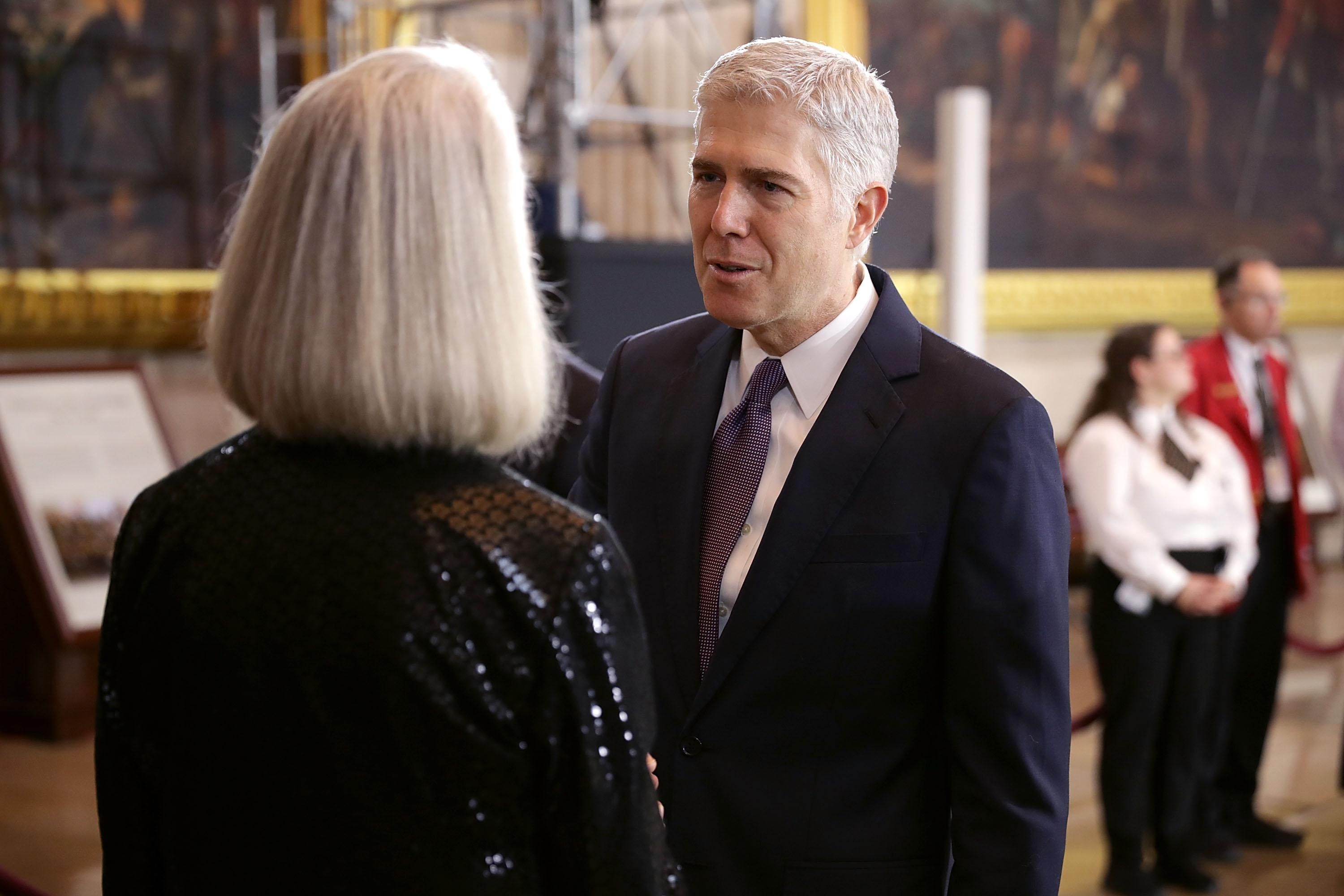 Neil Gorsuch talks with Anne Graham Lotz, daughter of Christian evangelist and Southern Baptist minister Billy Graham.
