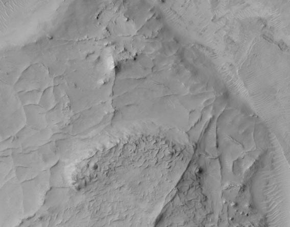 Ridges on Mars point to flowing water
