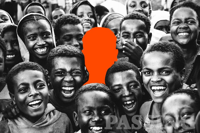 An orange silhouette of a person in a crowd of Africans.