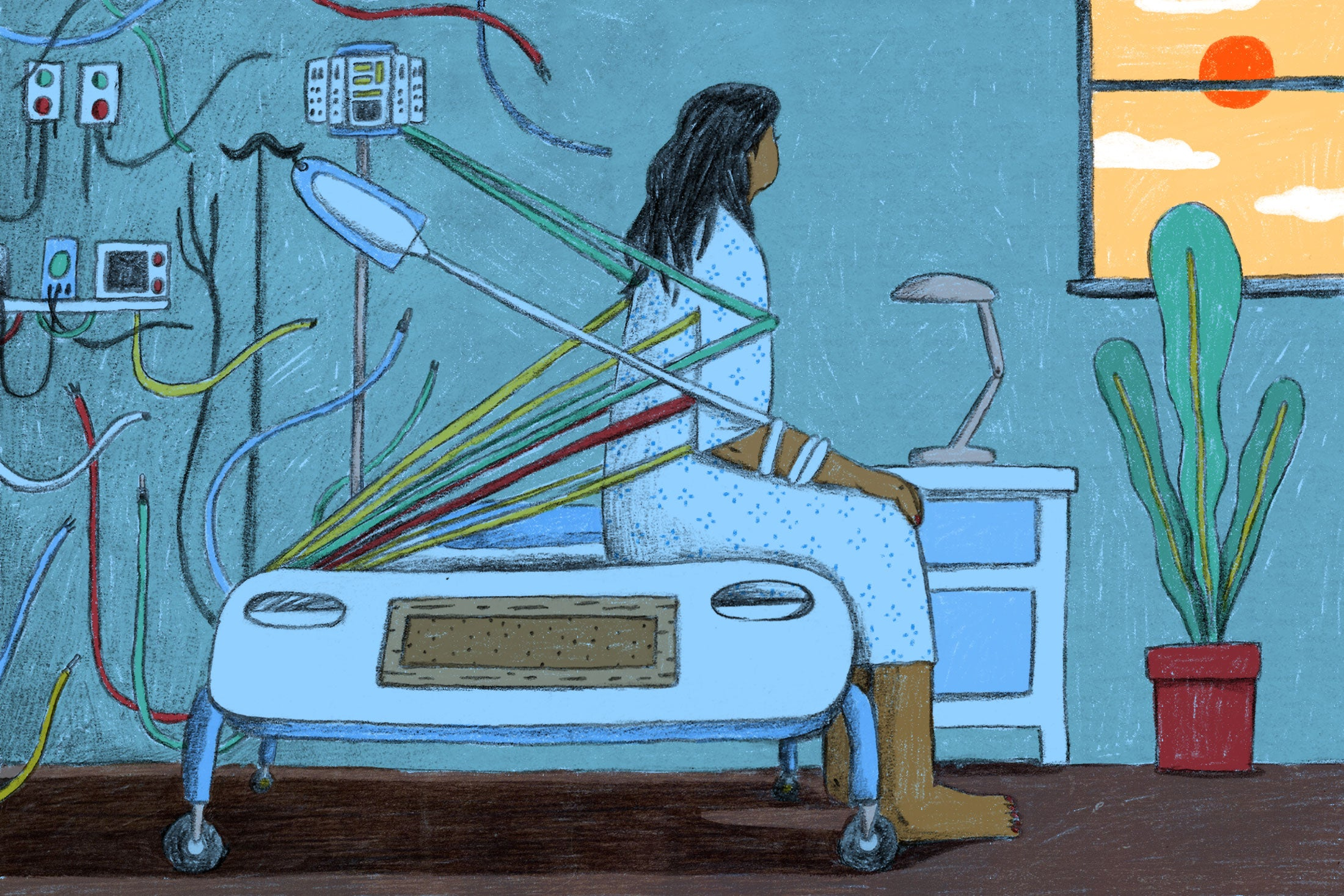 Sick woman restrained by hospital cords looking out window at the sun.