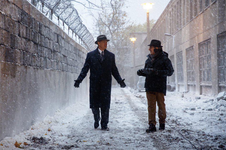 Tom Hanks and Steven Spielberg on the set of Bridge of Spies