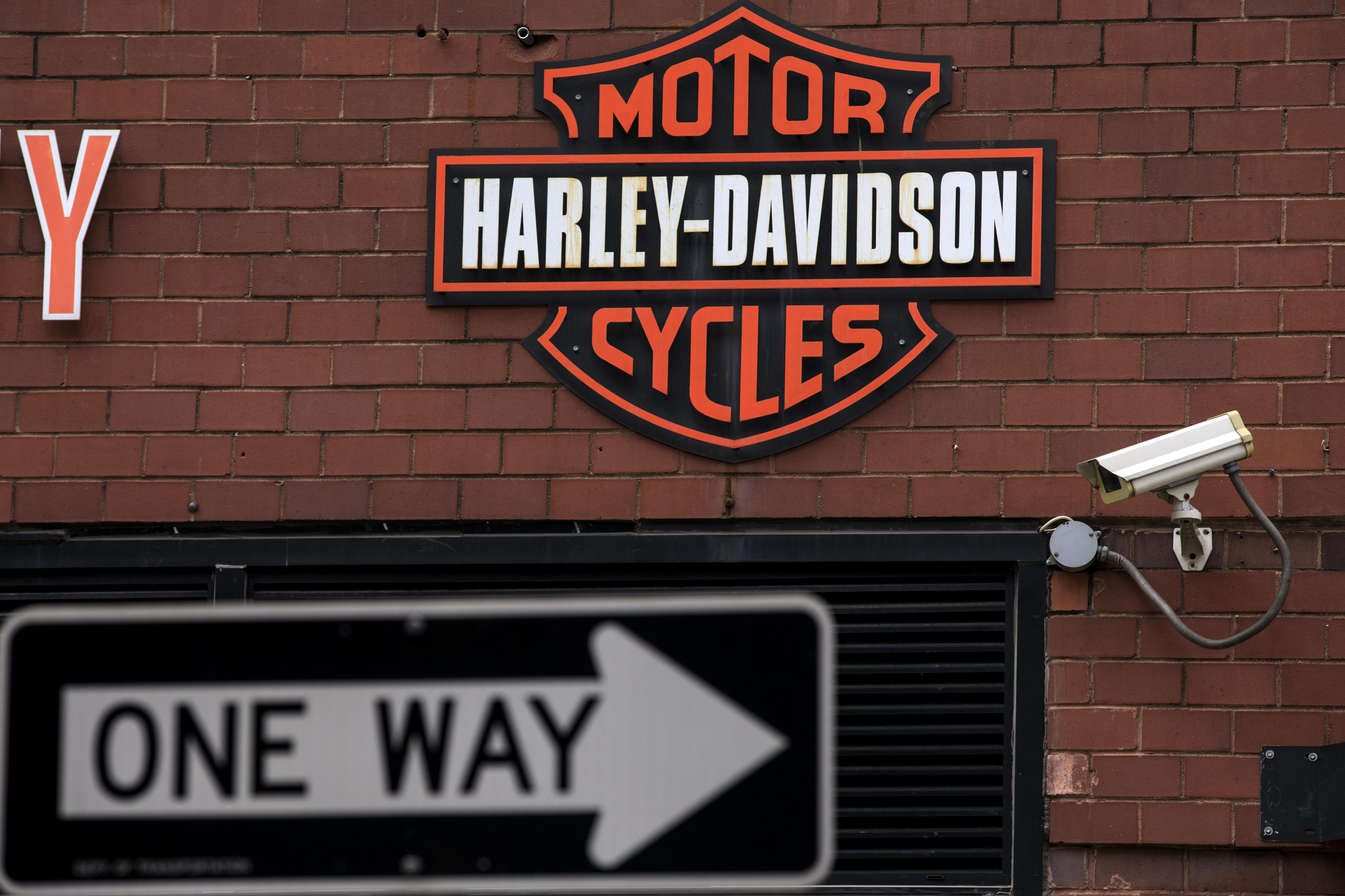 NEW YORK, NY - JUNE 25: The Harley Davidson logo is displayed on the outside of the Harley-Davidson of New York City store, June 25, 2018 in New York City. The American motorcycle company announced on Monday that it will shift production of some of its bikes overseas in order to avoid retaliatory tariffs by the European Union in response to U.S. President Donald Trump's tariffs on steel and aluminum imported from the EU. (Photo by Drew Angerer/Getty Images)