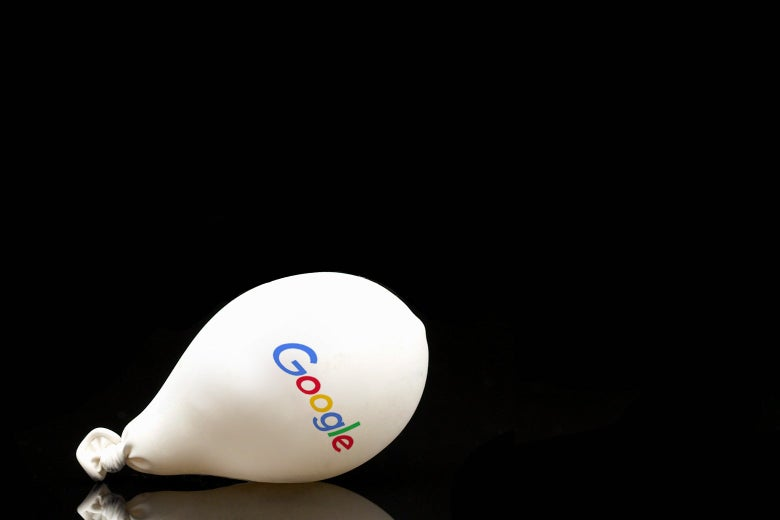 A deflating balloon with the Google logo on it