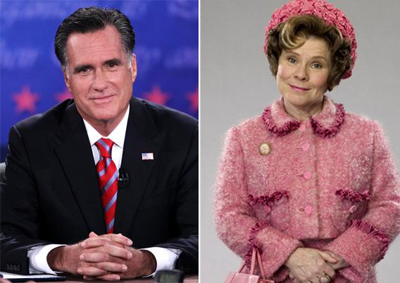 Mitt Romney at the third presidential debate on Monday, and Imelda Stuanton as Dolores Umbridge in Harry Potter and the Prisoner of Azkaban.