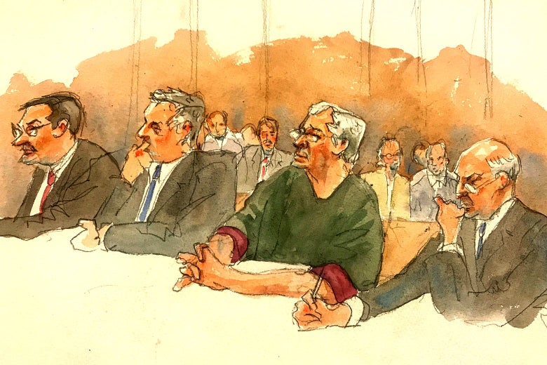 In this courtroom sketch, defendant Jeffrey Epstein, second from right, listens along with defense attorneys as Judge Richard M. Berman denies him bail during a hearing in federal court on July 18, 2019 in New York.