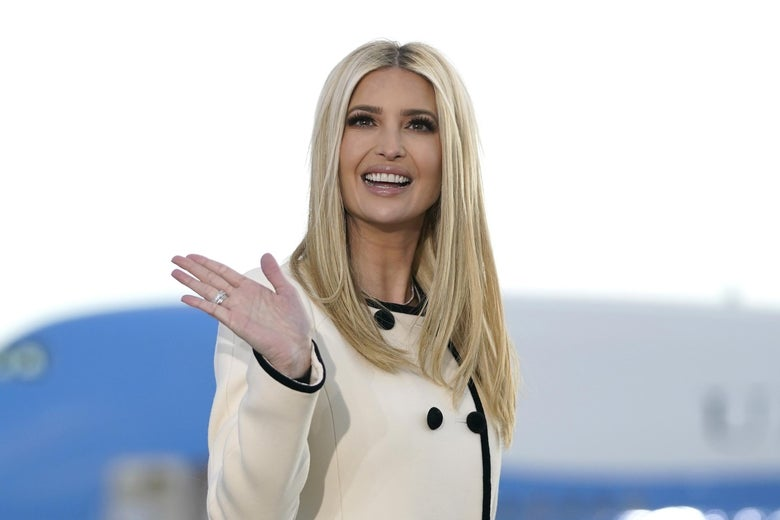 Ivanka Trump waves as she arrives at Joint Base Andrews in Maryland for US President Donald Trump's departure on Jan. 20.