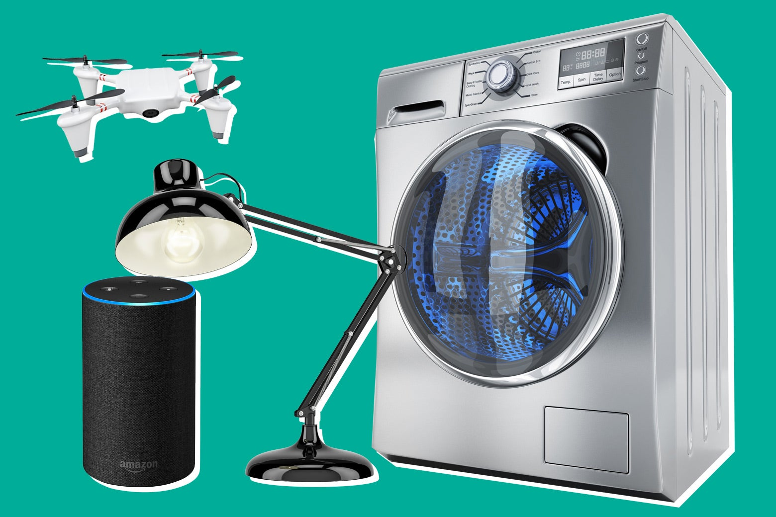 Photo illustration: an Amazon Echo, a drone, an office lamp, and a washing machine.