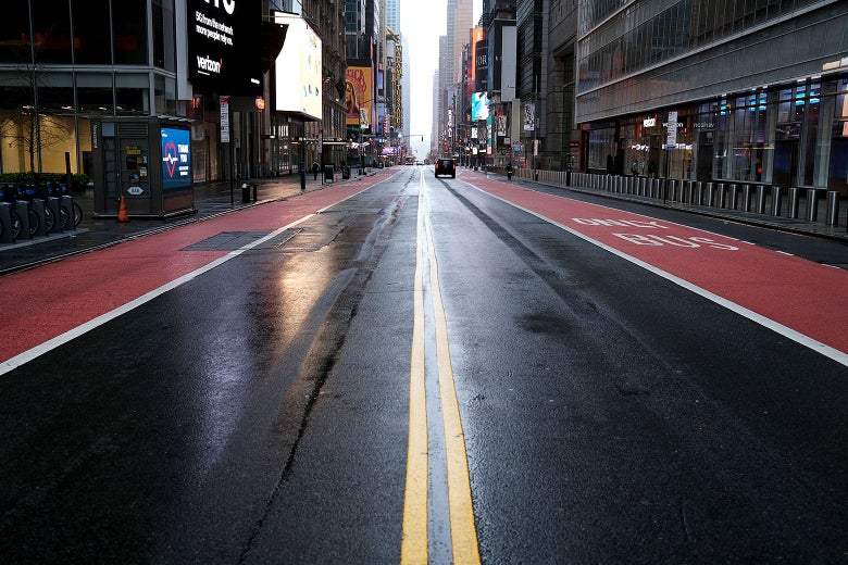 An empty street in Times Square
