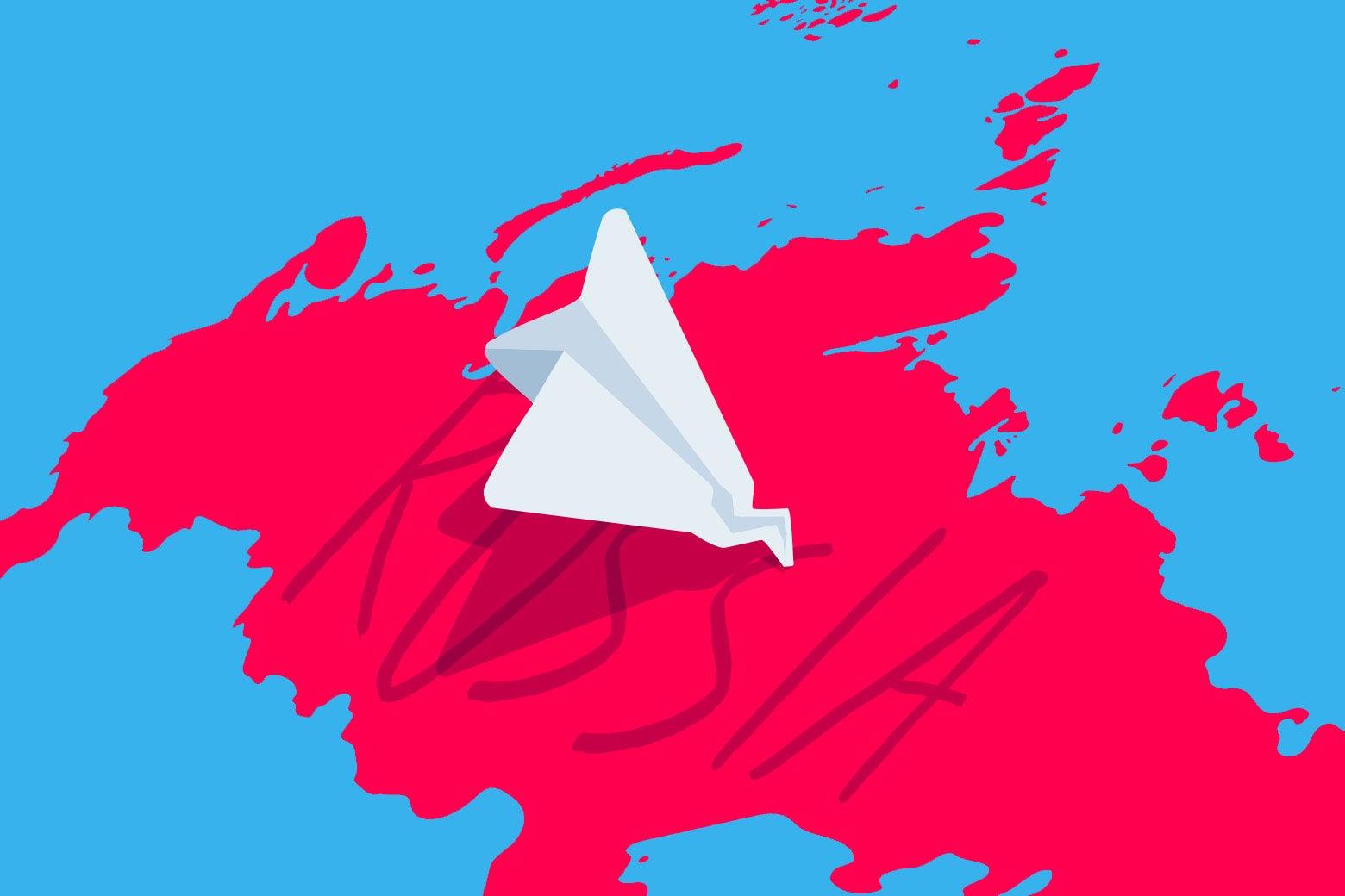 Telegram App logo crashing into Russia.