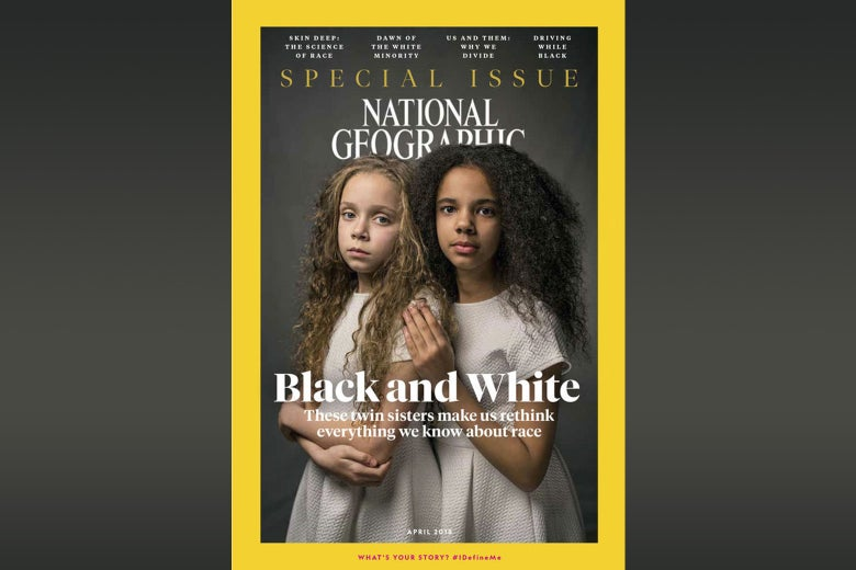 A National Geographic cover depicting biracial twins.