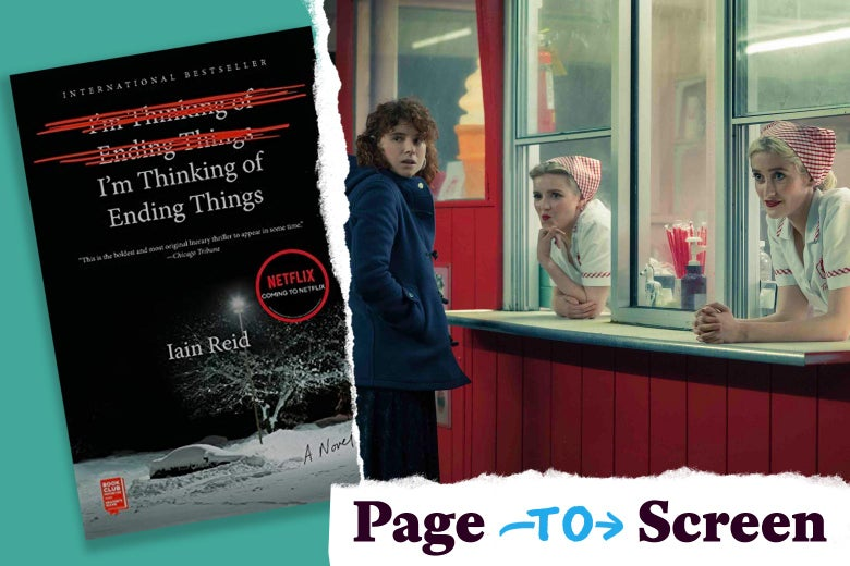 The book cover of I'm Thinking of Ending Things, and a scene from the film, with the Page to Screen tearaway