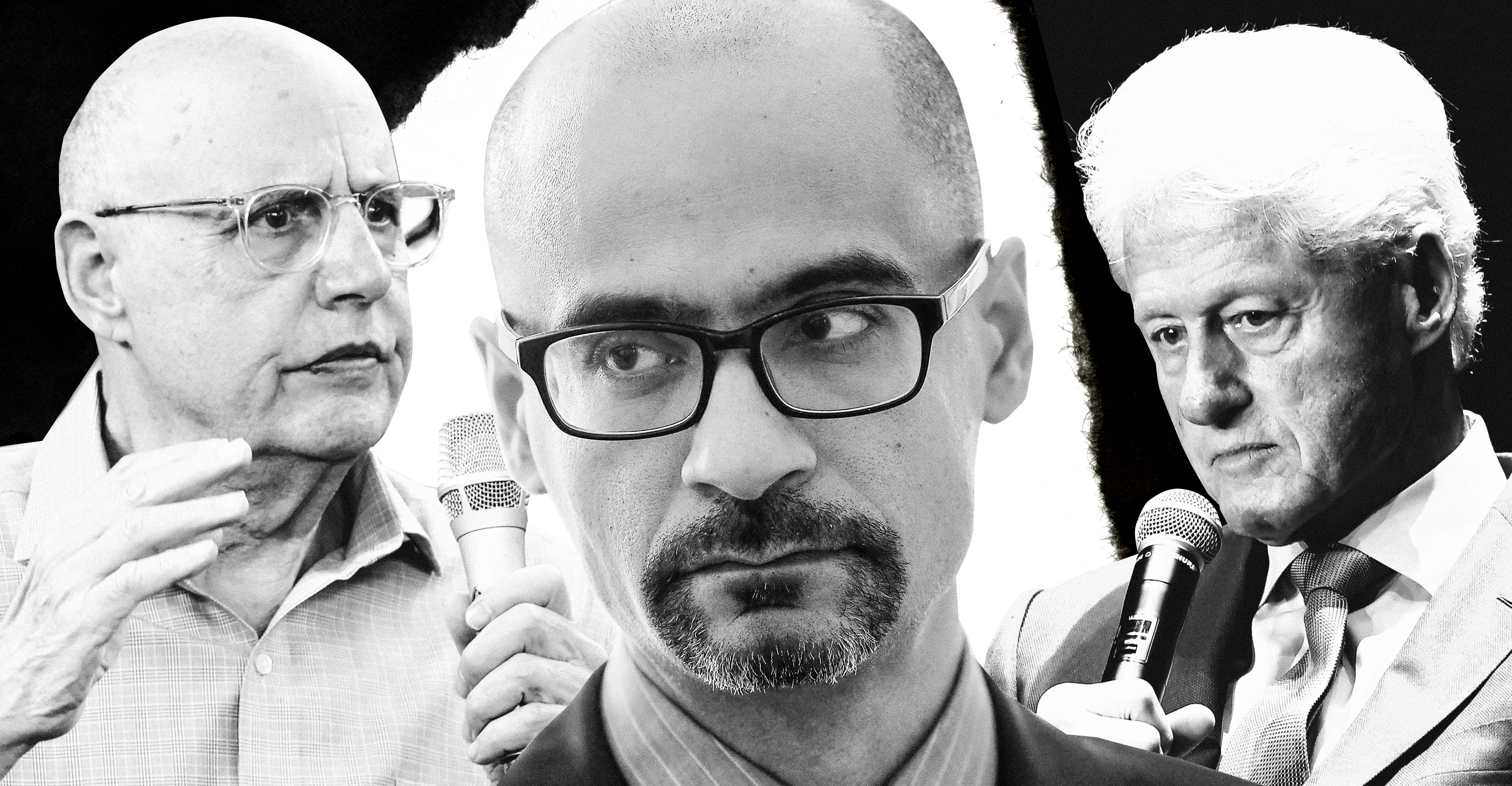 A black-and-white collage of Jeffrey Tambor, Junot Díaz, Bill Clinton.