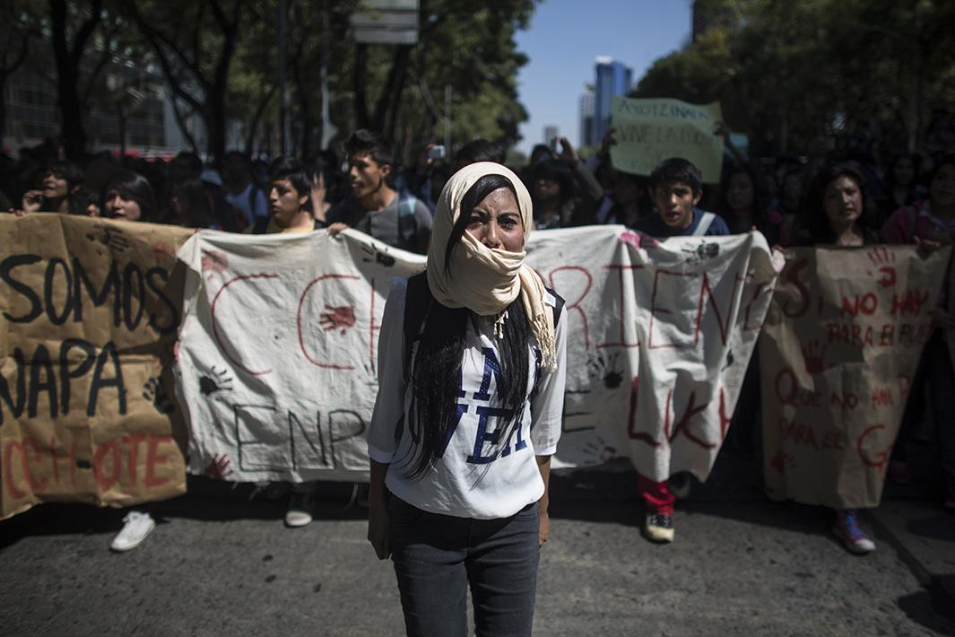 Students block access to the Mexican attorney general's office on Nov. 6, 2014, in Mexico City
