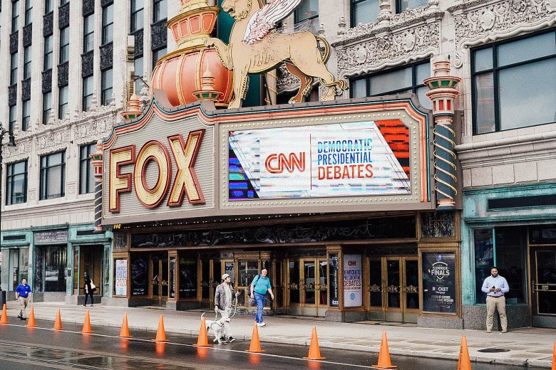 Fox Theatre in Detroit with the marquee advertising the debates.