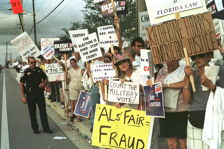 Protesters outside the Palm Beach County Emergency Operations Center on November 18, 2000 in West Palm Beach, Florida.
