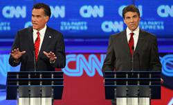 Republican presidential candidates Mitt Romney (L) and Gov. Rick Perry participate in a presidential debate on September 12, 2011. Click image to expand.