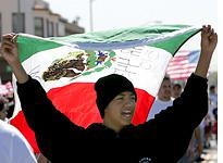 A demonstrator carries a Mexican flag. Click image to expand.