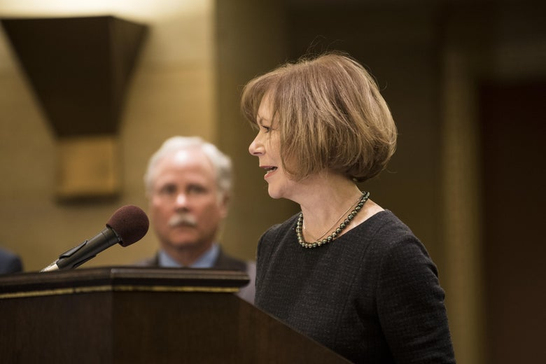 ST. PAUL, MN - DECEMBER 13: Minnesota Lt. Governor Tina Smith speaks after being named the replacement to Sen. Al Franken by Governor Mark Dayton on December 13, 2017 at the Minnesota State Capitol in St. Paul, Minnesota. Franken resigned last week after multiple allegations of sexual harassment. (Photo by Stephen Maturen/Getty Images)