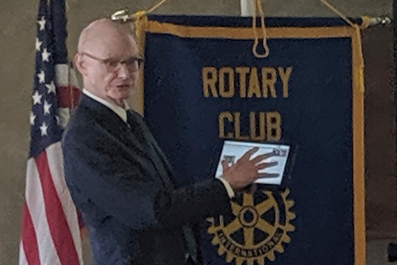 Walter Hussman Jr., publisher of the statewide newspaper the Arkansas Democrat-Gazette, speaks to members of the Hope, Arkansas Rotary Club.