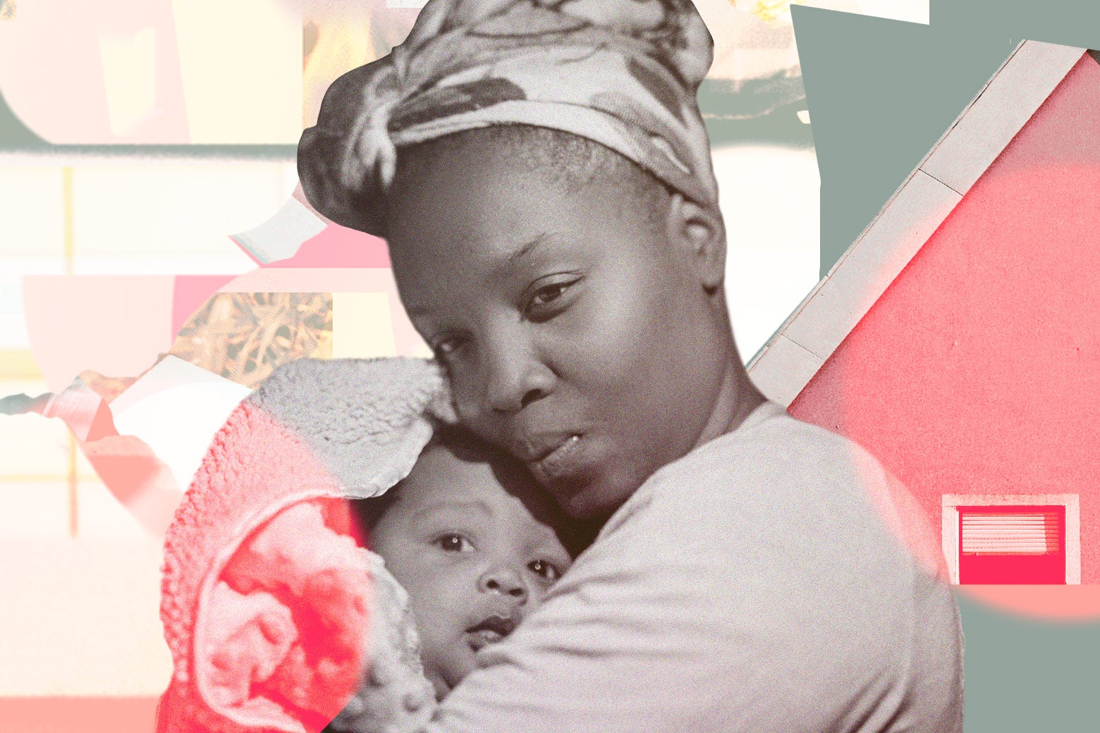 A woman in a head wrap holds a baby in a towel.