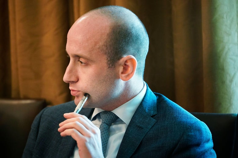 Stephen Miller attends a Cabinet meeting in the White House on August 16, 2018 in Washington, D.C.