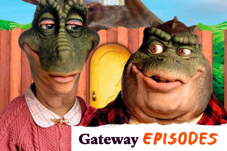 "Two dinosaur puppets stand in front of a fence with a door. One wears a pink sweater. Her squatter companion wears a red checkered shirt. A tearaway label in the corner reads ""Gateway Episodes."""