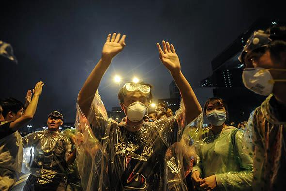 Protesters take over the outside of Hong Kong.
