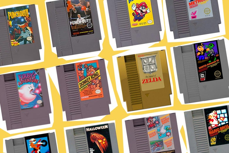 Covers of some of the NES games mentioned overlaid over NES systems.