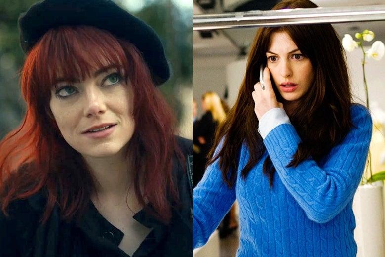 Emma Stone in Cruella and Anne Hathaway in The Devil Wears Prada.