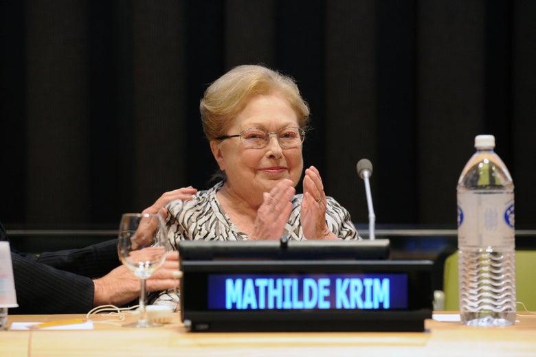 Dr. Mathilde Krim speaks at the U.N. headquarters on Nov. 26, 2013, in New York.
