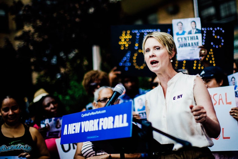Democratic gubernatorial candidate Cynthia Nixon speaks to attendees during a rally for universal rent control on August 16, 2018 in New York City.