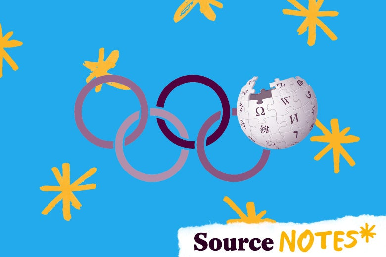 """The Olympics logo is seen—with one of the rings replaced with the Wikipedia globe—against a background with painted asterisks. A tearaway at bottom right reads """"Source Notes,"""" with an asterisk."""