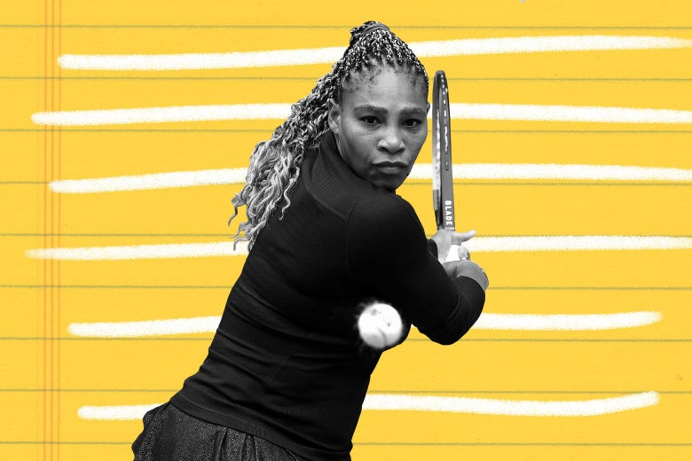 Serena Williams about to hit a tennis ball.