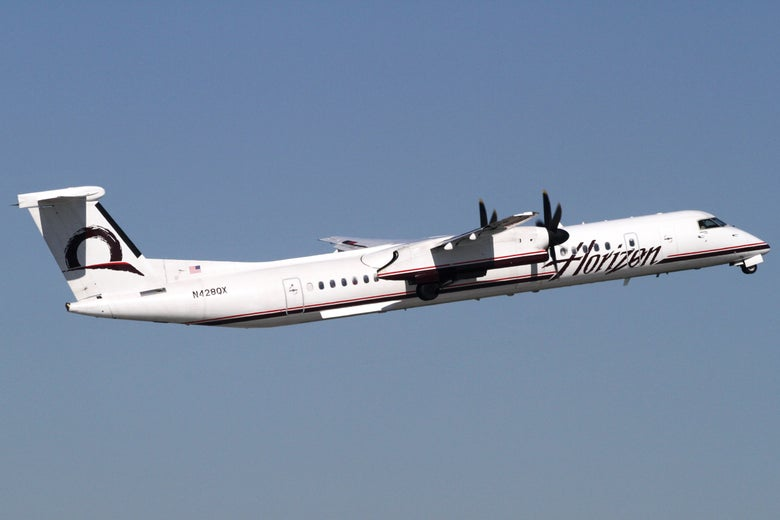 A Horizon Air Bombardier Q400 airplane is seen at the Seattle-Tacoma International Airport on May 14, 2010.