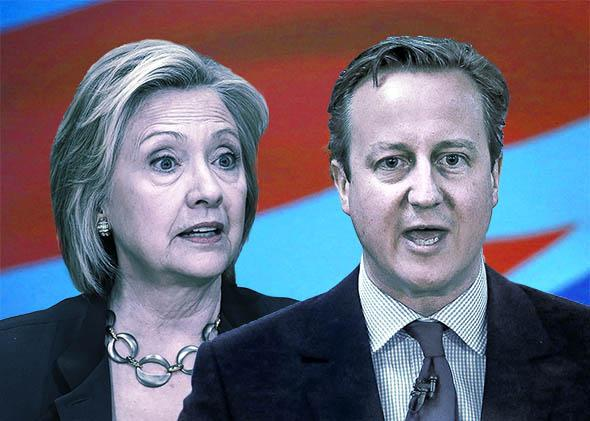 Democratic Presidential Candidate Hillary Clinton in Iowa, left, and British Prime Minister David Cameron in Glasgow.