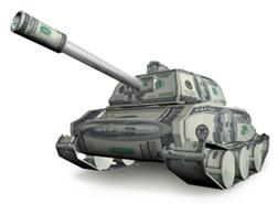 Currency in the shape of an origami tank.