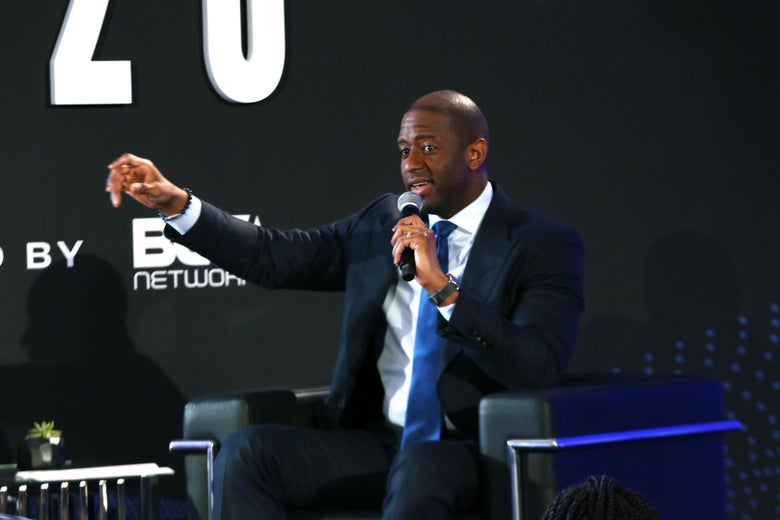 Andrew Gillum speaks onstage during a conference on  February 20 in Los Angeles.