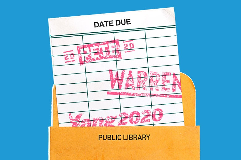 A library due date slip stamped with Democratic campaign logos.