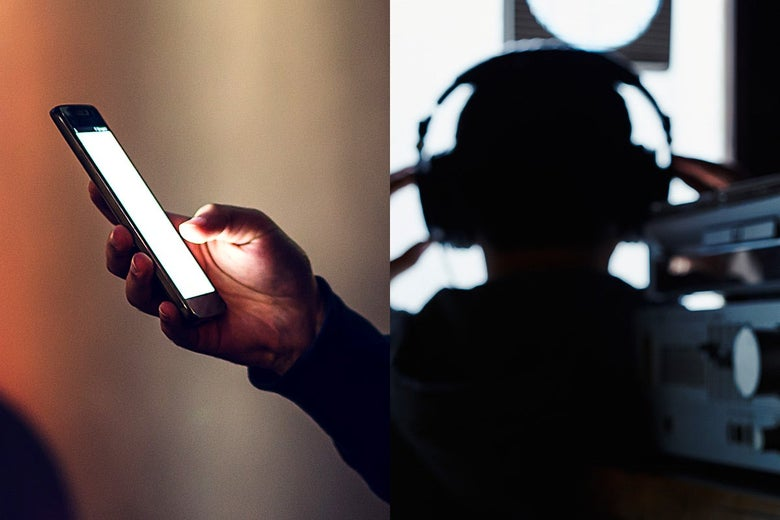 Diptych of a hand holding a smartphone and a person in a dark room with headphones on, listening to phone calls.