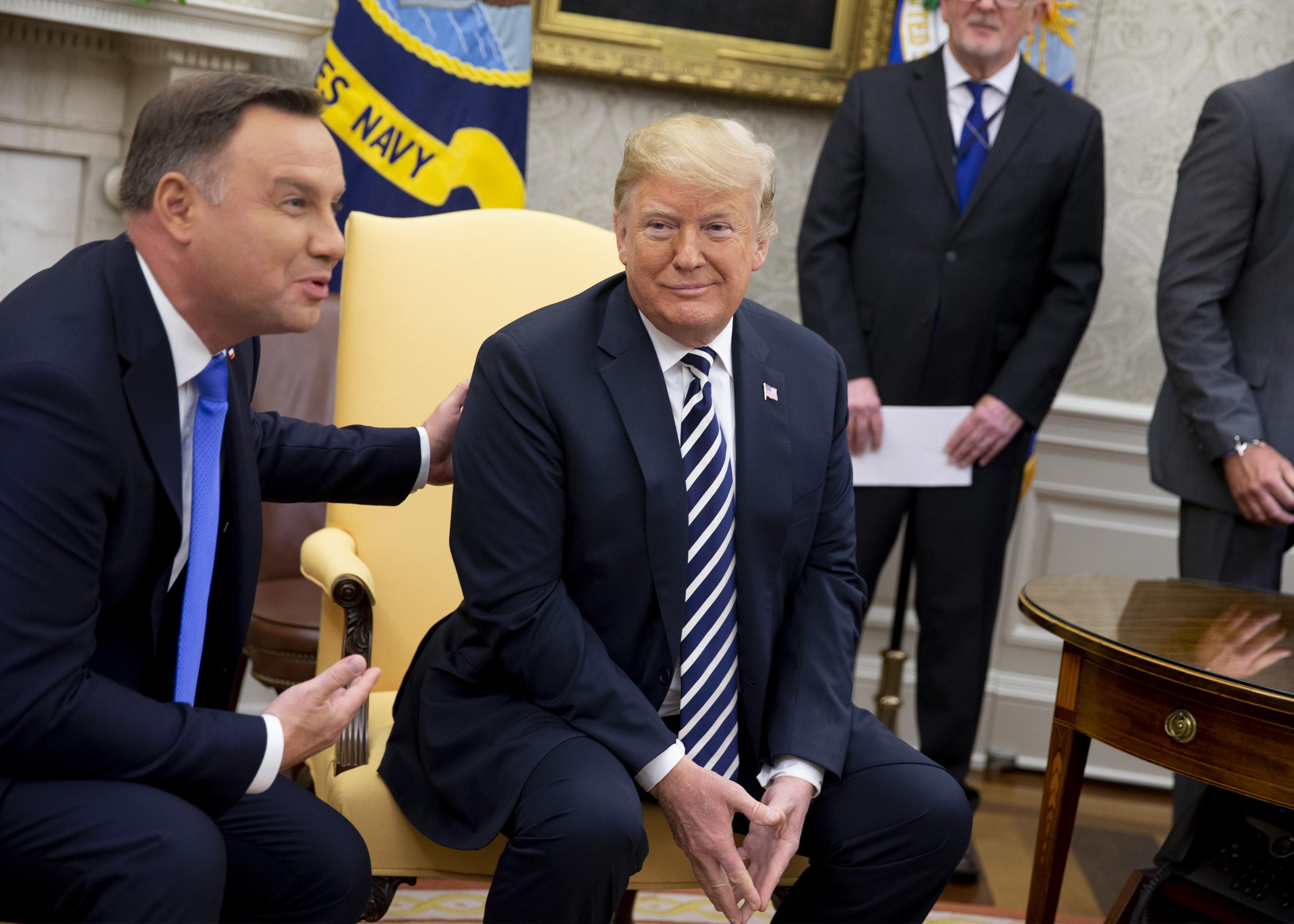 U.S. President Donald Trump and President of Poland Andrzej Duda speak with the media at the oval office in the White House on September 18, 2018. in Washington, DC.