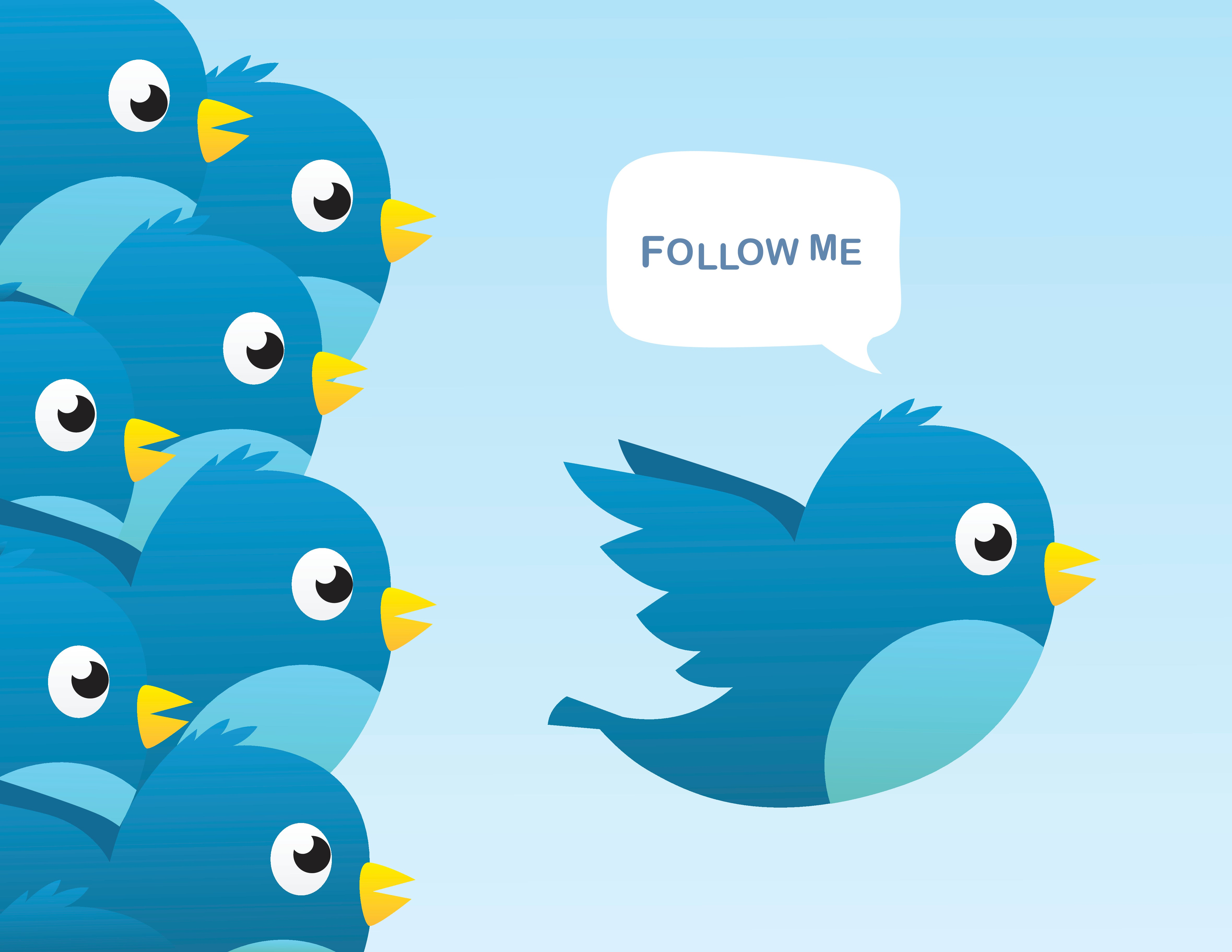 Twitter bird calls for others to follow.