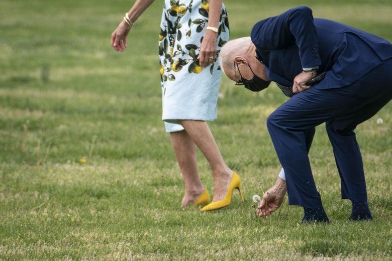 President Joe Biden picks a dandelion for first lady Jill Biden as they walk to Marine One on the Ellipse near the White House on April 29, 2021 in Washington, D.C.