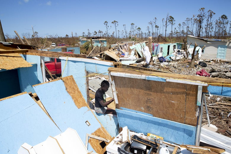 Destroyed homes in the community of Farm Road in the Bahamas