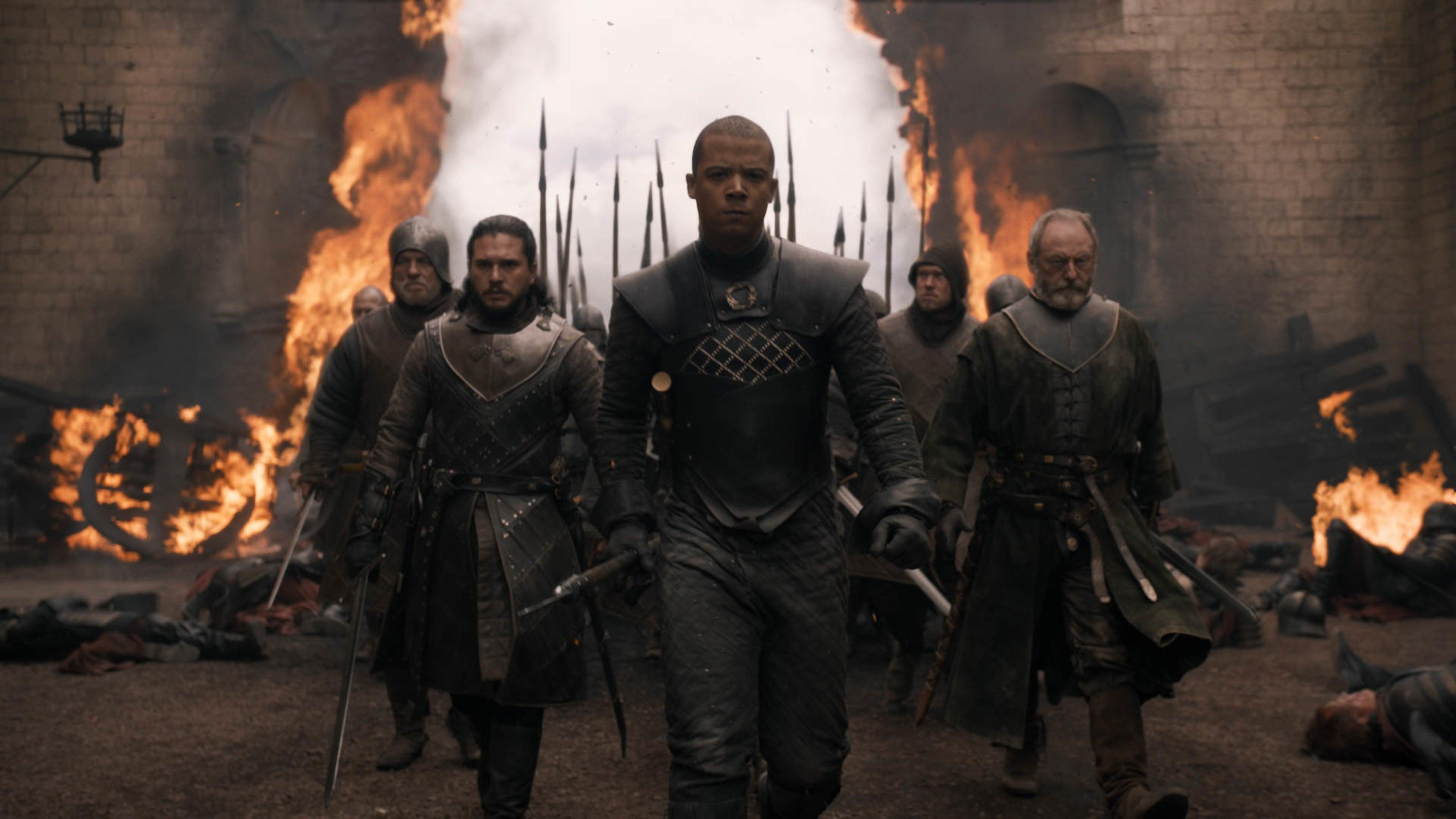 Jon Snow and friends striding through a burnt-down wall.