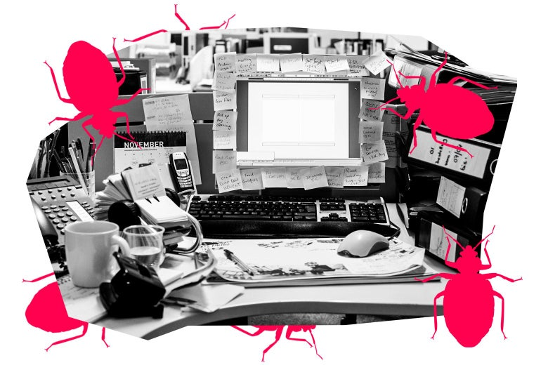 A very messy office desk, with graphics of bedbugs crawling around it.
