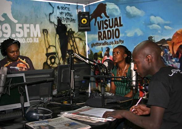"Inside the ""on air"" studio at Ghetto Radio in Nairobi, Kenya."