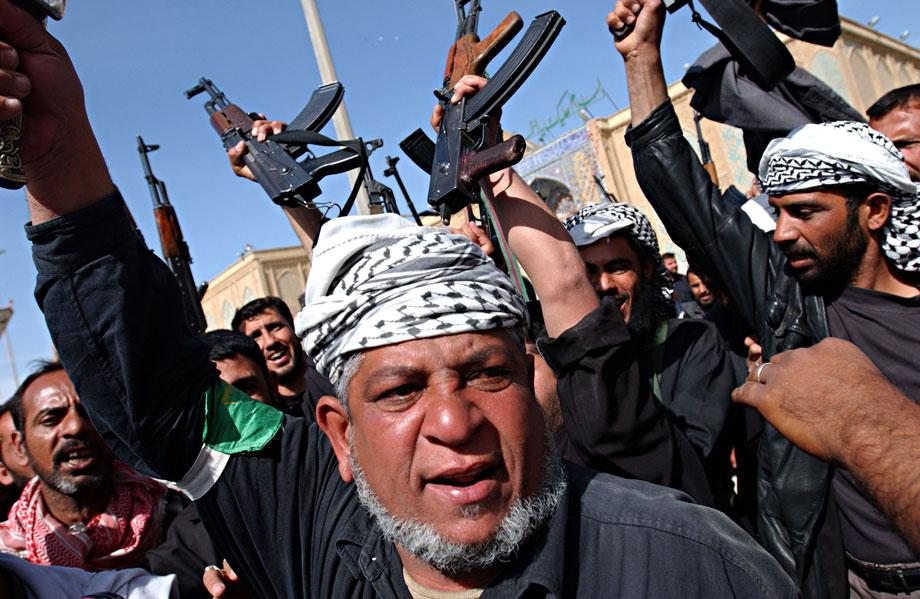 Supporters of Muqtada al Sadr protest against American occupation in Najaf, Najaf province, Iraq on April 6, 2004.
