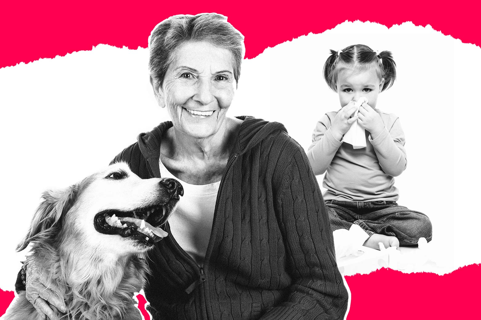 Photo illustration: An older woman smiling with a dog next to an image of a young girl holding a tissue to her nose.
